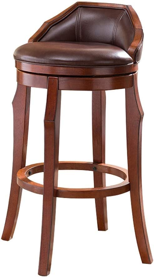 Amazon Com Cylq Rotating Solid Wood Bar Stools Swivel Breakfast Bar Chair Low Back Artificial Leather Home Counter 80 110cm Height Brown 5 Sizes Color Brown Size 75cm Furniture Decor