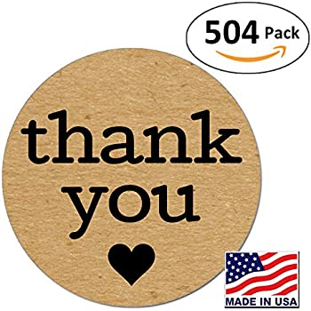 Pack of 504 kraft thank you sticker labels with black hearts 1 inch round