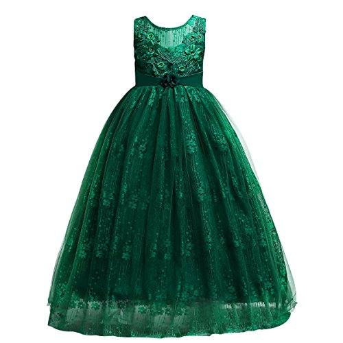 Little Big Girls'Tulle Retro Vintage Dresses Flower Lace Pageant Party Wedding Floor Length Dance Evening Gown Green #2 7-8 Years