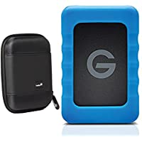 G-Technology G-DRIVE ev RaW USB 3.0 Portable Hard Drive 2TB 0G05190 With Ivation Compact Portable Hard Drive Case