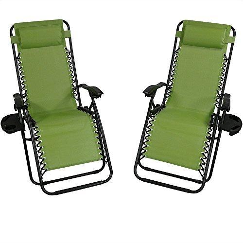 Sunnydaze Green Oversized Zero Gravity Lounge Chair with Pil