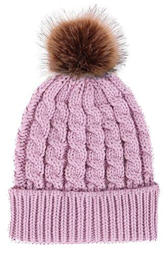 Verabella Womens Winter Soft Chunky Cable Knit Pom Pom Beanie Hats Skull Ski Cap