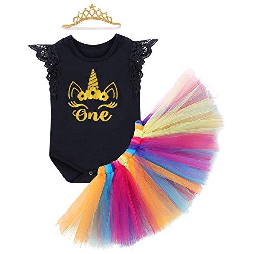 Toddler Ref Costume (Baby Girls 4PCs 1st Birthday Cake Smash Crown Romper Tutu Skirt Headband Outfit)