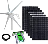 1000W 24V Hybrid Wind and Solar Power DIY Off-Grid Kit - 400W Wind Turbine + 6x100W 12V Mono Solar...