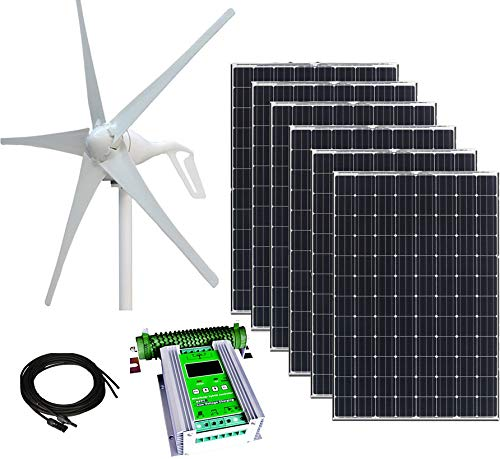 1000W 24V Hybrid Wind and Solar Power DIY Off-Grid Kit - 400W Wind Turbine + 6x100W 12V Mono Solar Panels + 50A Hybrid MPPT Controller + Pair 16 feet MC4 Connector Cables