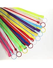 """10PCS 10 Inch (25CM) #5 Plastic Zippers with Ring Slider Pull Close End Vislon Zippers for DIY Sewing Craft Bags Garment 10"""" Resin Zippers Mixed Multicolor (25cm)"""