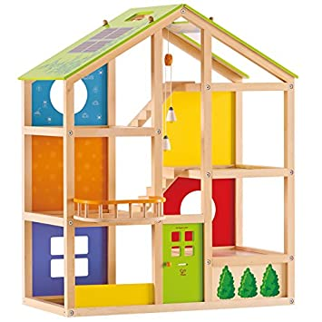 Hape All Seasons Kids Wooden Doll House Unfurnished Dollhouses