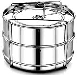 : EasyShopForEveryone Stackable Pot in Pot Cooking Steamer Insert Pans (2 Tier) | Food Grade Stainless Steel Instant Pot Pans with Safety Sling | Pressure Cooker / Instant Pot Accessories for 6, 8 qt