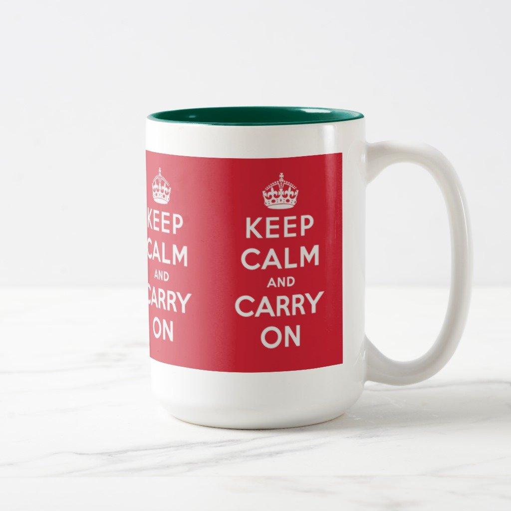 Amazon Zazzle Keep Calm and Carry Coffee Mug Black Two Tone