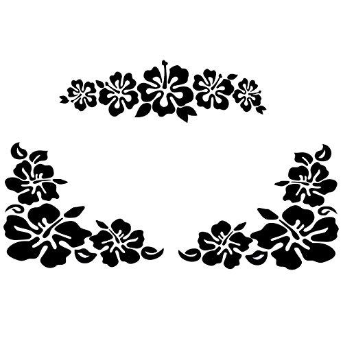 GraceMe Car Window Body Bumper Decal Sticker Scratch Cover Hibiscus Hawaiian Flower (Black)