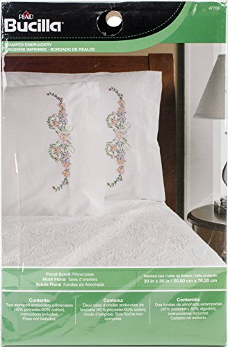 Floral Cross Kit (Bucilla Stamped Cross Sticth Pillow Cases, 47706 Floral Scroll)