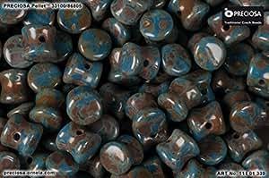 50pcs 4x 6mm Pellets–perlas de vidrio prensado Checa, azul opaco Travertino