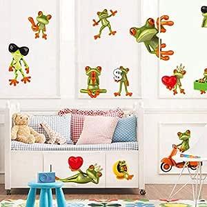 ملصقات الحائط القابلة للإزالة DIY لغرفة الأطفال ديكور المنزل - الضفدع المضحك