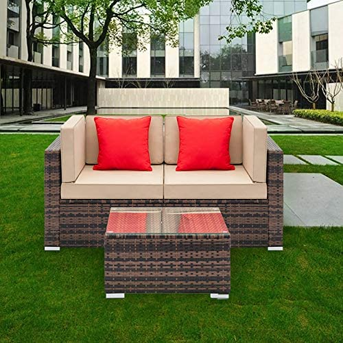 Tenozek Wicker Loveseat, Wicker Corner Patio Furniture, Outdoor Patio Sectional Sofa All-Weather PE Rattan Couch Conversation Chair w Coffee Table for Backyard, Pool Brown, 2 Seats Coffee Table