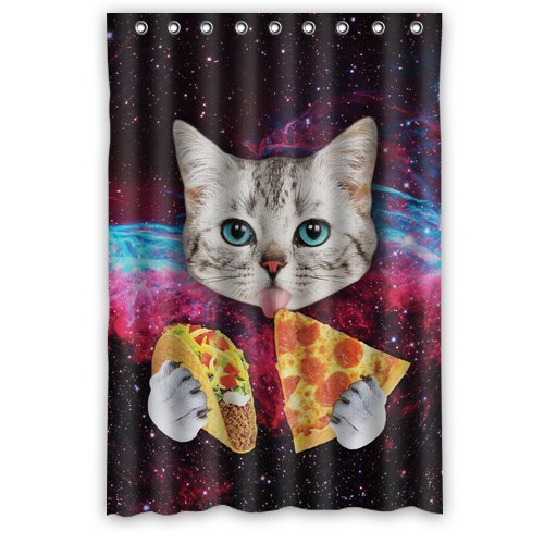 Custom Space Nebula Universe Cat Eat Pizza Shower Curtain Stylish Waterproof Polyester Fabric Bathroom Deco 48quot
