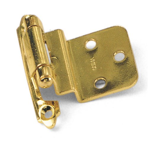 Laurey 28637 3/8-Inch Inset Face Mount Self-Closing Hinge, Polished Brass, 2-Pack