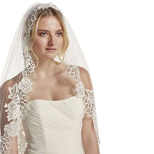 Mid Veil with Trailing Lace Style WPD16266M, White by David's Bridal