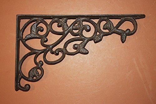 - (Set of 4) Farmhouse Shelf Brackets Cast Iron, Open Shelving Supports Corbels, 12 inches, B-14