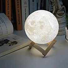 3D Printing Moon night light Lamp, Touch Switch Battery Powered Lunar Mood Lamp, USB Charging Bedside Table Light 2 Modes Decor 10 CM