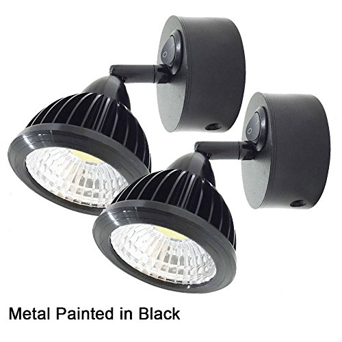 12v-LEDlight Vintage LED Reading Lights for RV Boats Trucks – Black Wall Sconce Decoration – Flexible Joint Bed Light Rocker Switch, 3w, Bright Natural White, Set of 2 (Sconce Steel Halogen)