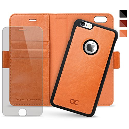 OCASE iPhone 6 Plus Case iPhone 6S Plus Case [Magnetic Detachable Case] Wallet Leather Case [Screen Protector Included] For Apple iPhone 6 Plus/6S Plus Devices (Blazing Orange) by OCASE