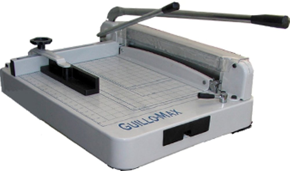 Tamerica GUILLO-MAX Heavy-Duty Stack Manual Power Paper Cutter, 360 sheets or 1-1/2''thick copy paper cutting capacity, 17'' cutting length, Capable of smoothly cutting up to 360 sheets of printer paper at a time by GuilloMax