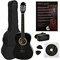 NAVARRA NV14PK - Guitarra clásica STARTER PACK 3/4 negro con bordes crema incl. funda con correas tipo mochila y bolsillo para partituras/accesorios, Libro con muchos hit-canciones y CD, Cliptuner pantalla LCD de aguja con iluminación de fondo, 2 Púa