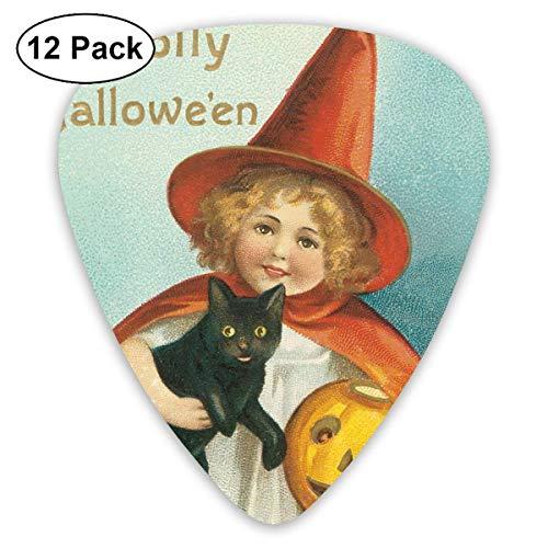 HOOAL Custom Guitar Picks, Halloween Victorian Black Cat Guitar Pick,Jewelry Gift For Guitar Lover,12 -