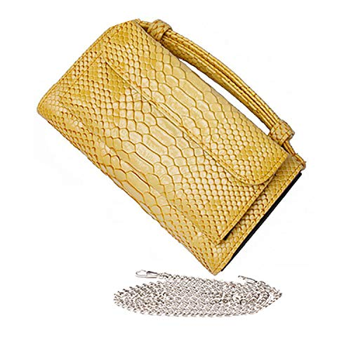 Luxury Genuine Python Leather Hand Bags Cross Body Shoulder Bag Snakeskin Designer Day Clutch Chain Crossbody Bag,Yellow