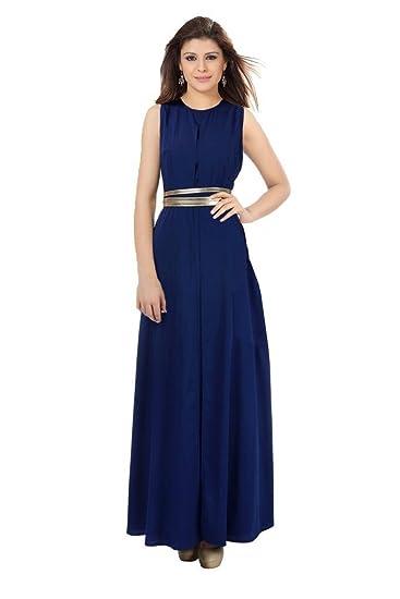 662e6ced047b47 ishin Women's Georgette Maxi Dress (Navy Blue, XXL): Amazon.in ...