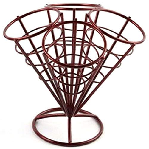 (Vicanba Fruit Stand Tier - 4in1 French Fry Stand Cone Basket Holder Black Iron Rack Ice Cream Shape Food Shelves Bowl Potato - Stand Bowl Basket Lubricant Stand Ice Stand French Cone Basket Cream)