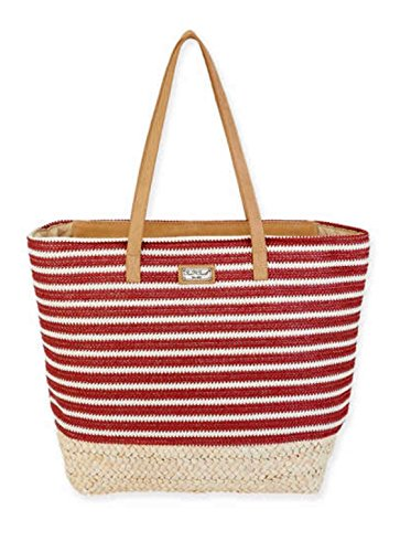 Red Stripe Poly Bag - Red & White Stripe Classic Shoulder Bag, Poly Straw