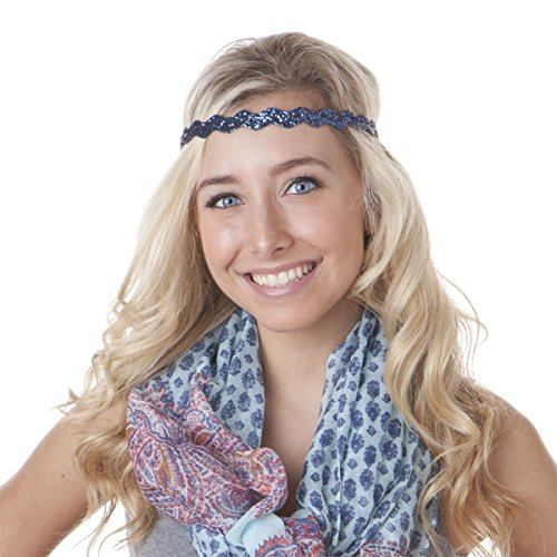 Hipsy 5pk Women's Adjustable NO SLIP Wave Bling Glitter Headband Multi Gift Pack (Silver/Navy/L. Pink/Black/White)