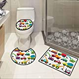 Construction,Luxury 3-Piece Bath Mat Set Cute Style Vehicles and Heavy Equipment Forklift Earthmover Excavator Mixer Bathroom Accessories Multicolor -  SCOCICI1588