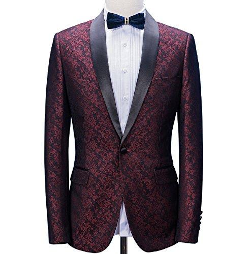 Man Suit Premium Burgundy Paisley Floral Pattern Premium Slim Fit Tuxedo Prom Wedding Groom Suits Blazers Jacket ()