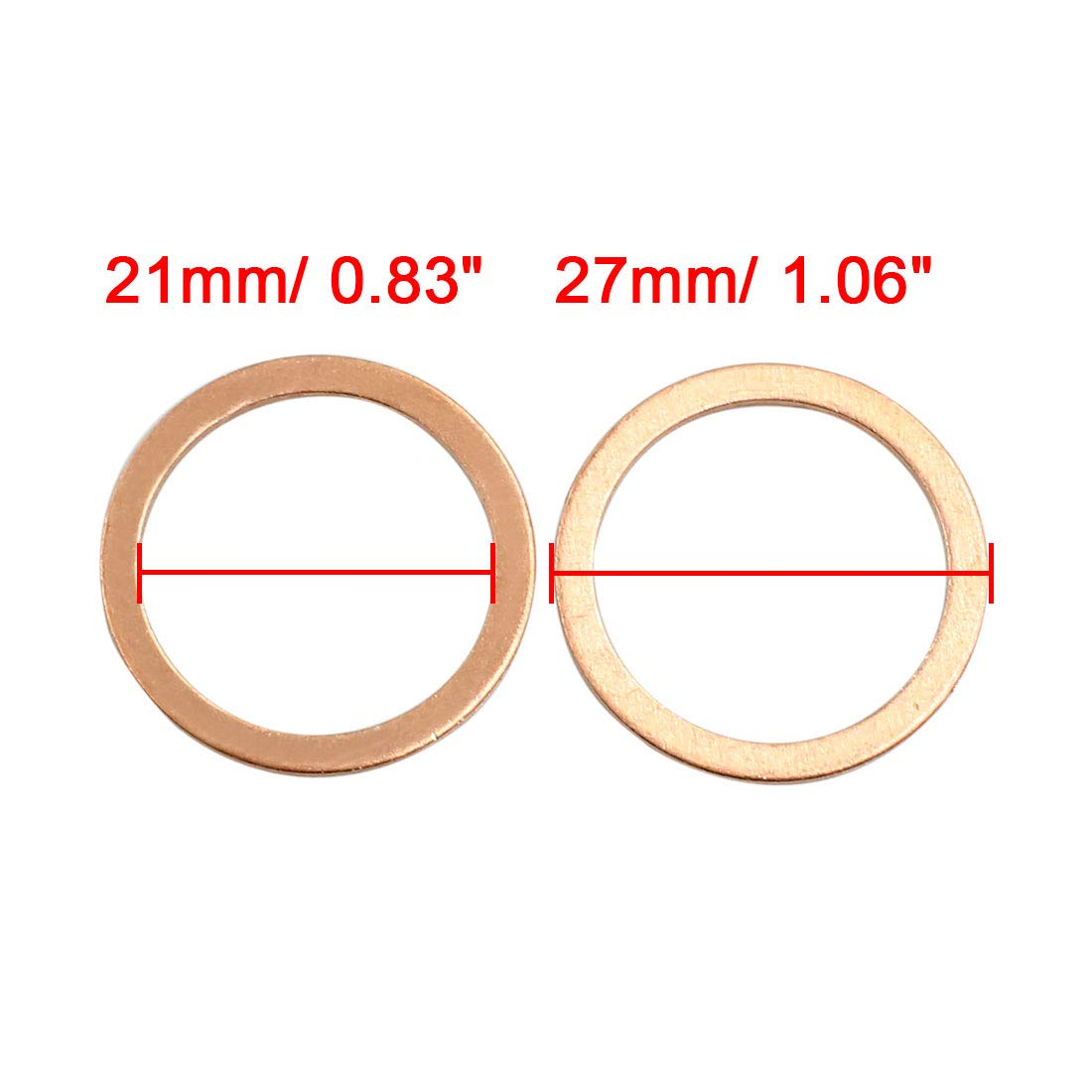 X AUTOHAUX 5 Pcs 21mm Inner Dia Copper Washers Flat Sealing Gasket Rings for Car