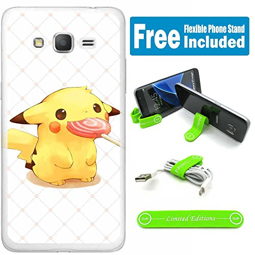 [Ashely Cases] Samsung Galaxy On5 Cover Case Skin with Flexible Phone Stand - Pokemon Pikachu Candy Photo - Pokemon Gaming