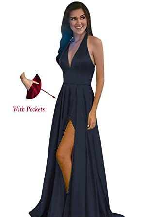 0a4c3187feb Sexy V Neck Halter Evening Dress Satin Open Back High Slit A Line Prom Gowns  Formal