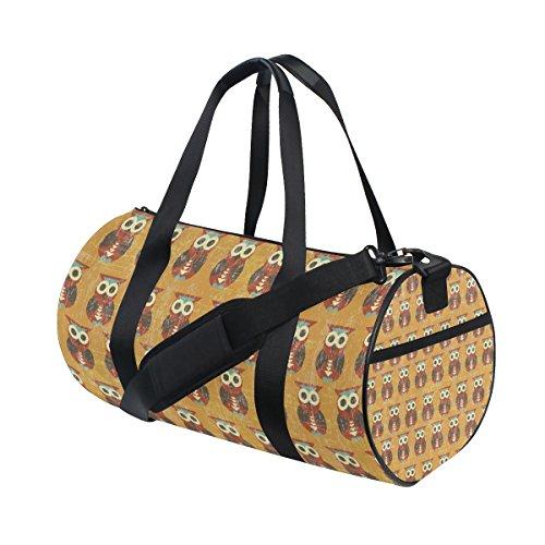 Cartoon Owls Yellow Lightweight Canvas Sports Bag Travel Duffel Yoga Gym Bags by JIUMEI