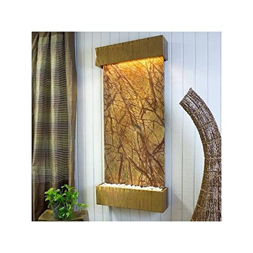 Water Wonders Large Nojoqui Falls Rainforest Brown Marble with Copper Patina Trim by Water Wonders