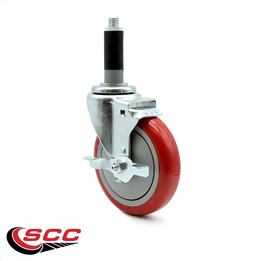 """4/"""" x 1.25 Red Polyurethane Wheel Swivel Caster w//1-1//4 Expanding Stem 300 lbs//Caster Service Caster"""