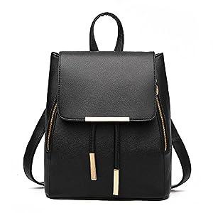 Women Leather Shoulder Bag Travel Camping Backpacks Schoolbags (Black)