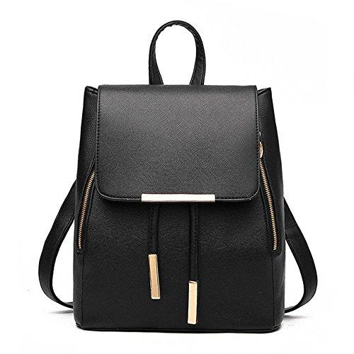 Huabor Womens Bag Backpack Purse PU Leather Zipper Bags Fashion Casual Rucksack Satchel and handbag (Black)