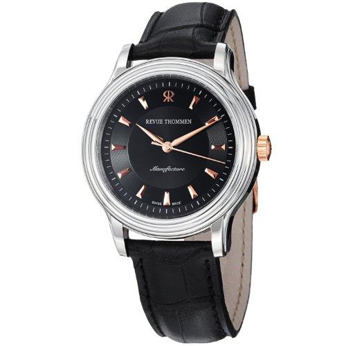 Revue Thommen Men's 12200-2557 Classic Black Leather Strap Watch