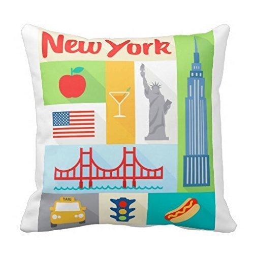 MAY-XCustom-Pillowcase Cuscino per Federa New York Souvenir 18 X 18 Pollici 45X45 Cm