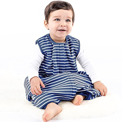 4 Season Baby Sleep Bag with Feet Opening, Merino Wool, 18-36mo, Navy Blue by Woolino