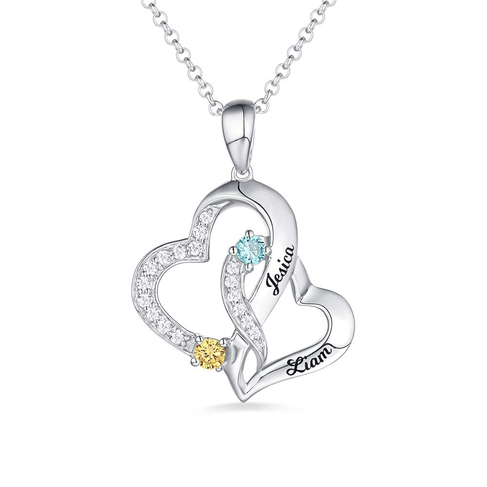 Getname Necklace Personalized Birthstone Name Necklace 925 Sterling Silver Love Double Heart Necklace with 2 Names /& 2 Birthstone Couple Pendants