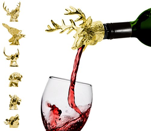 Classic Gold Deer Aerator – Premium Aerating Pourer with silicone rubber fitting. Double the value and taste of your wine just by pouring yourself a glass. Cheers! Gold Deer