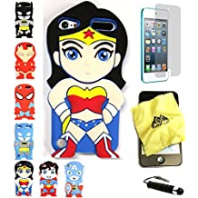 Bukit Cell 3D Superhero Bundle: Wonder Woman Cute Justice League Cartoon Soft Silicone Case for Ipod Touch 6 6th Generation / 5 5th Generation + Cleaning Cloth + Screen Protector + Stylus Pen