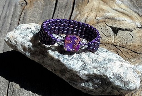 Purple Dyed Imperial Jasper Stone Swarovski Crystal Seed Bead Band Ring Size 9.5 - 10 Women Teens Girls